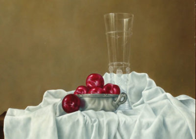 Red Plums in a Silver Bowl