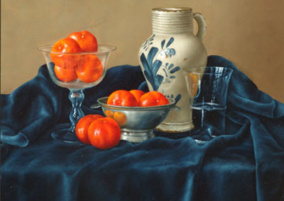 Tangerines with Glasses and Pottery