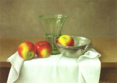 Three Apples with a Glass