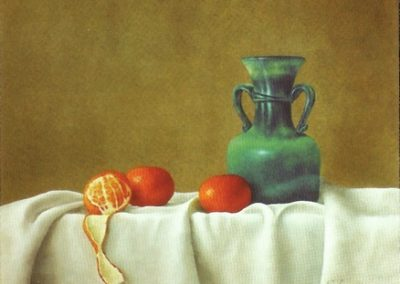 Three Tangerines with Blue Jug